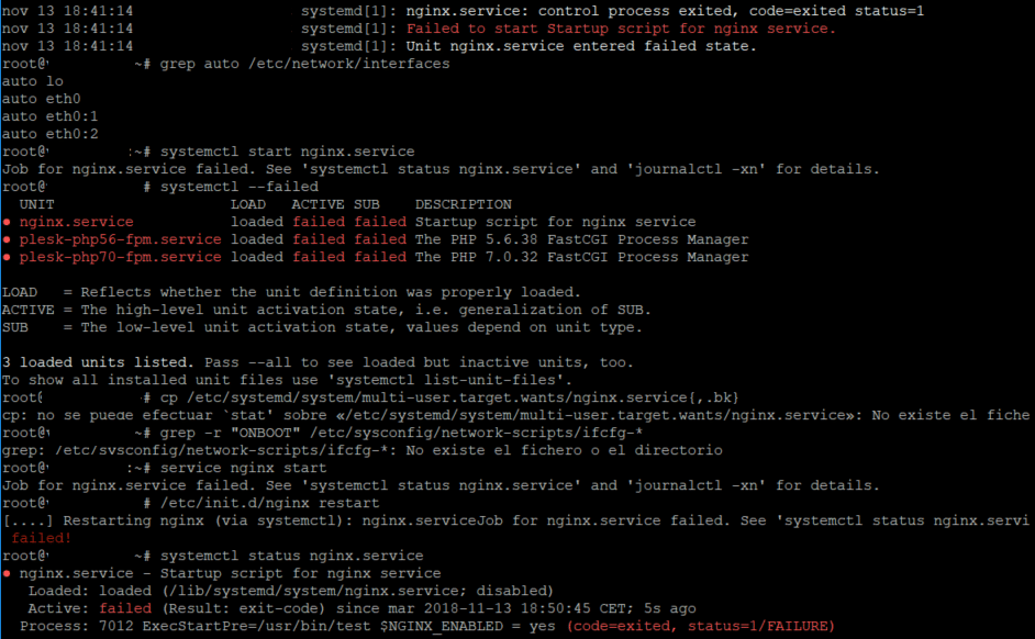 failed to start startup script for nginx service